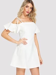 Open-Shoulder Ruffle Sleeve Dress