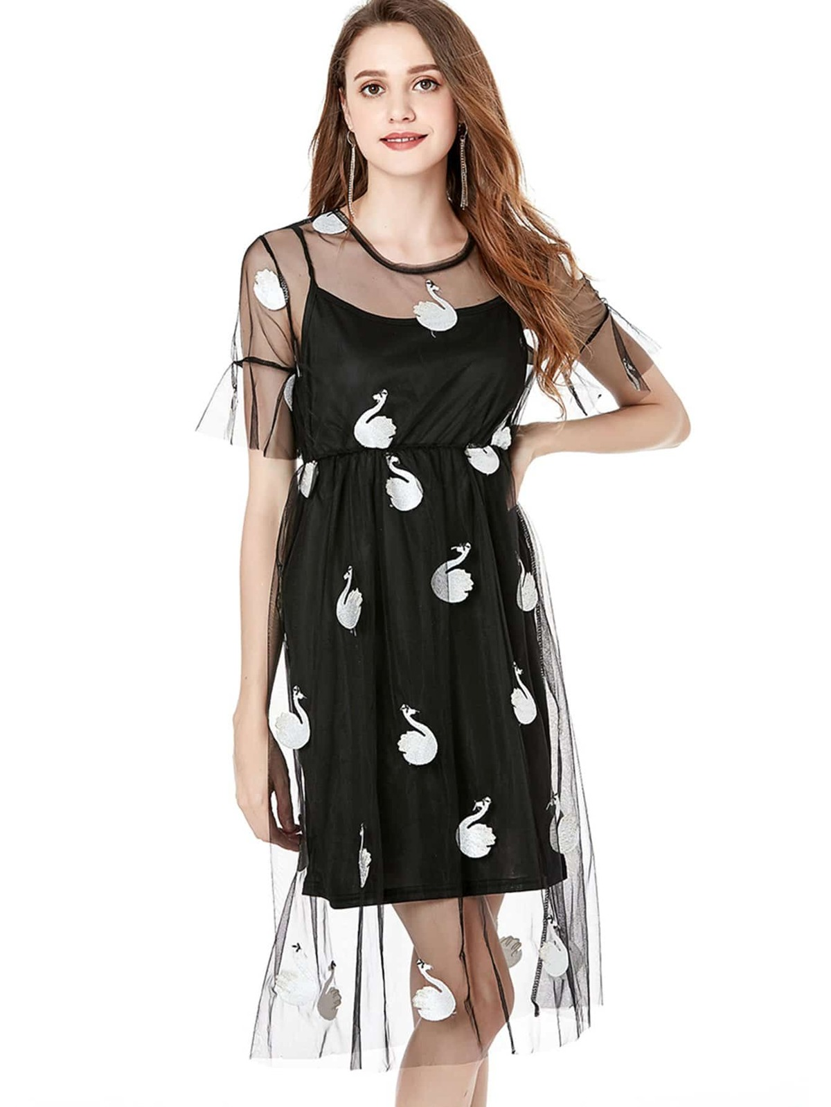 Swan Print Mesh Dress With Cami Dress