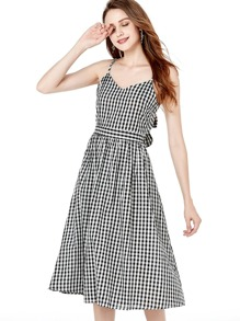 Bow Tie Back Gingham Cami Dress