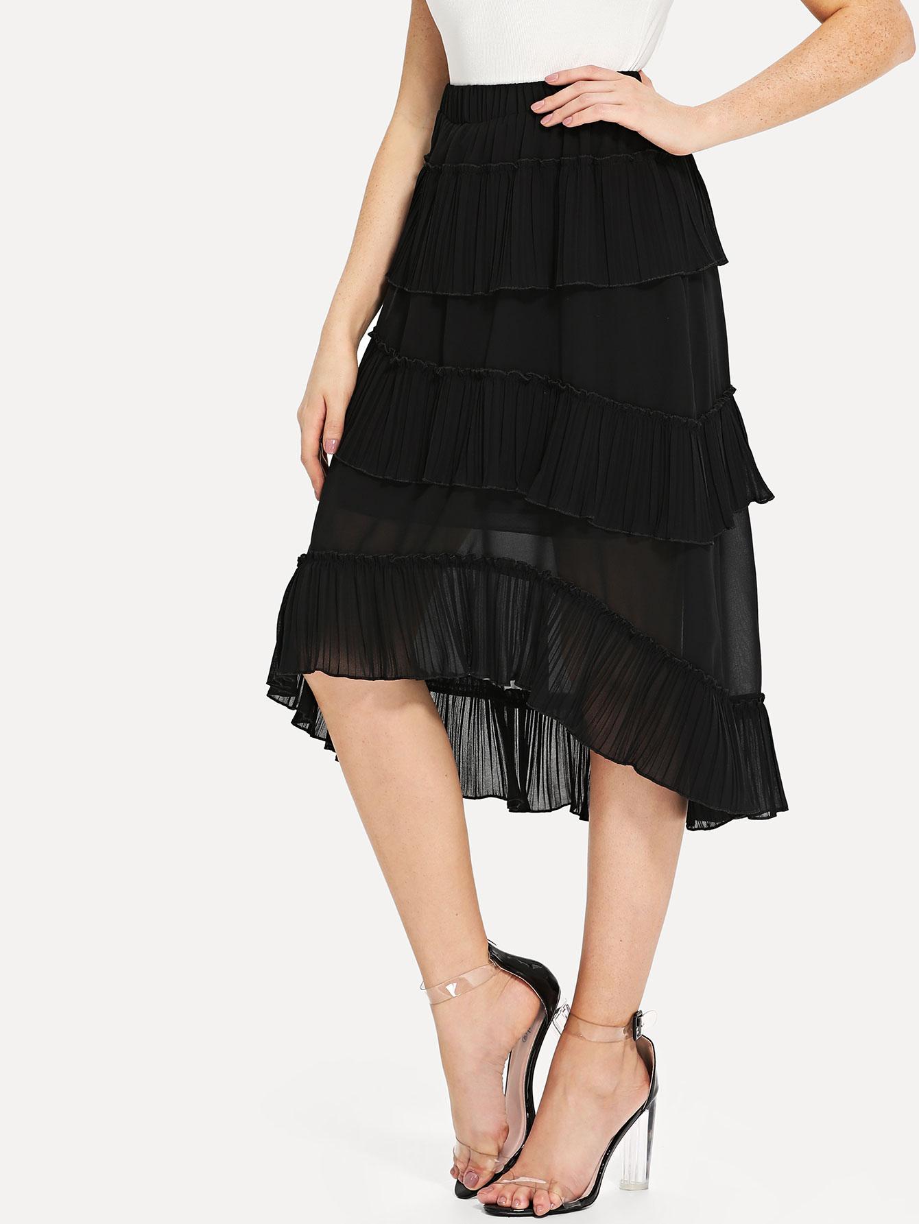 Ruffle Hem Skirt ruffle hem lace skirt