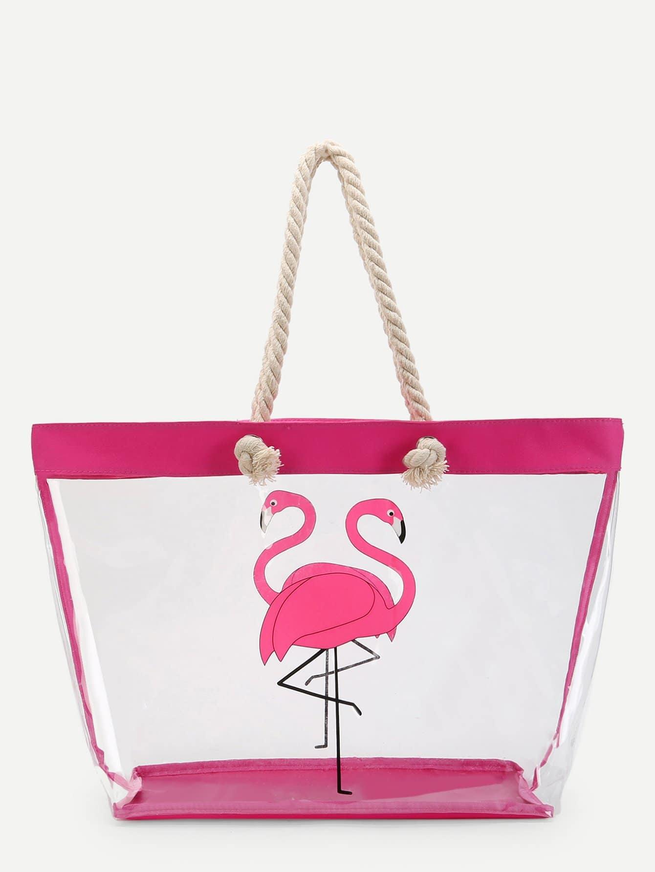 Flamingo Pattern Tote Bag straw flamingo embroidered tote bag