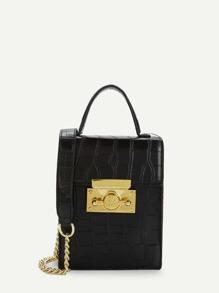Crocodile Pattern PU Chain Bag