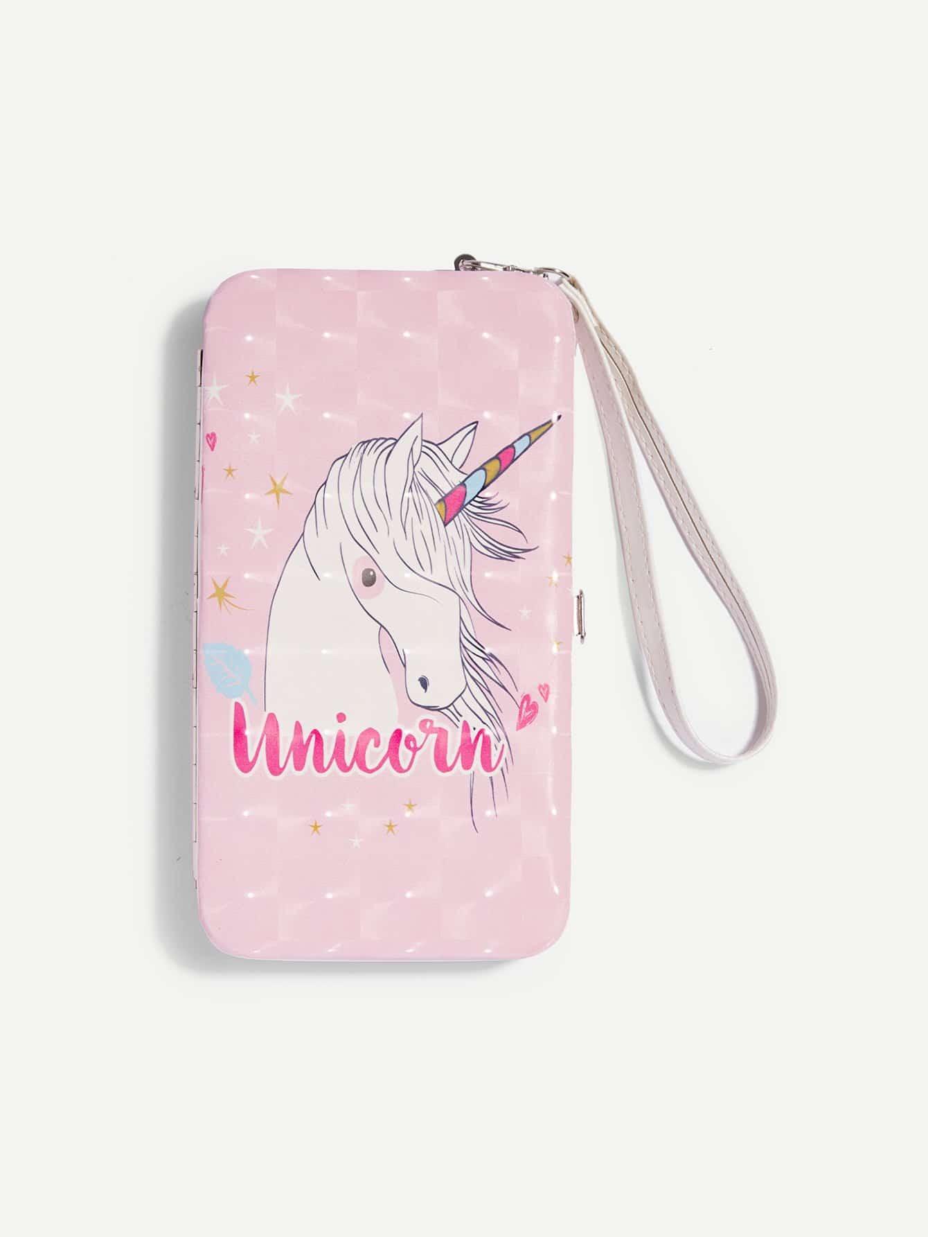 Unicorn Pattern PU Wallet iridescent pu wallet
