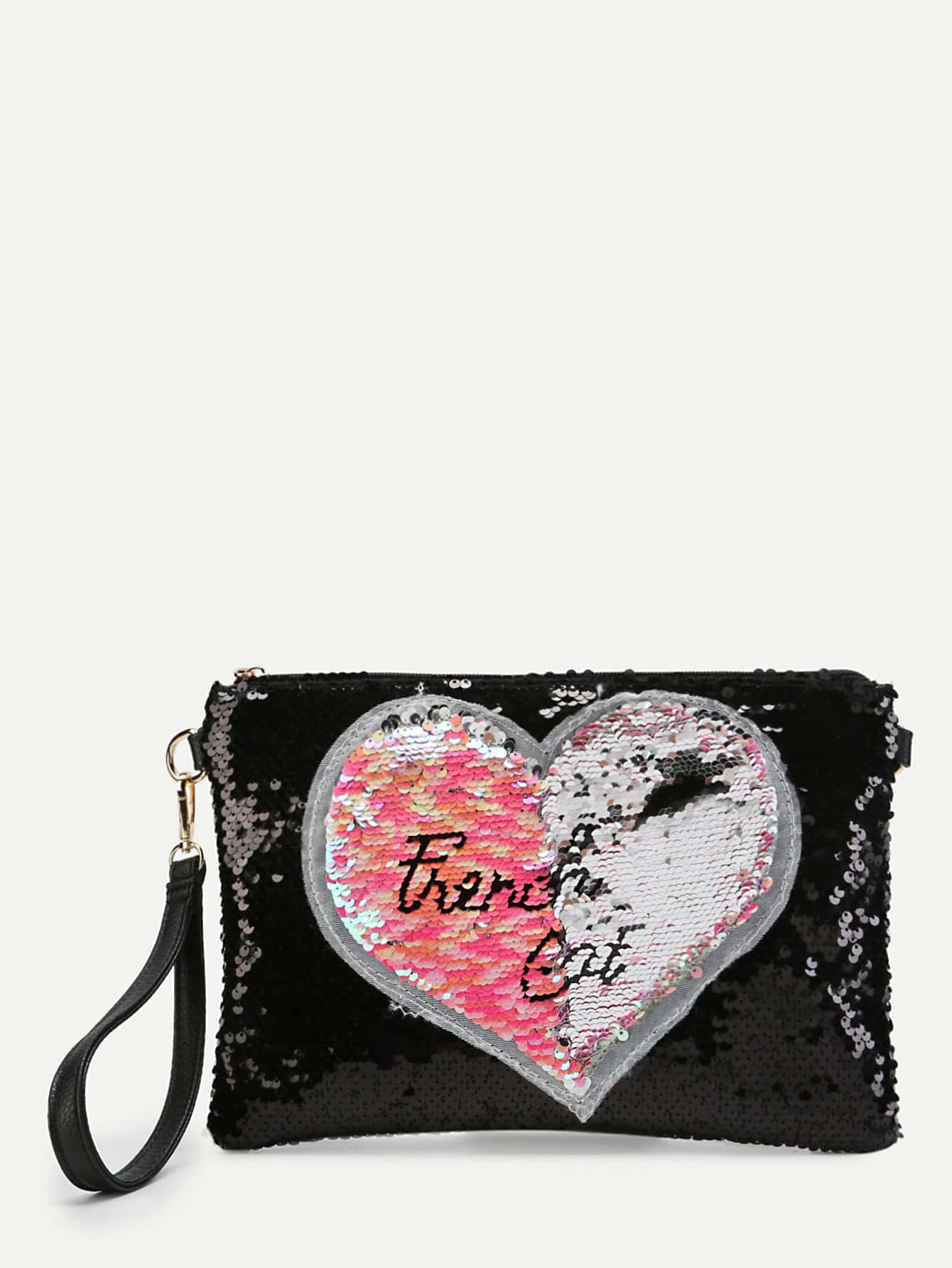 Sequin Overlay Heart Pattern Clutch Bag rhinestone applique heart pattern crystal clutch evening party bags