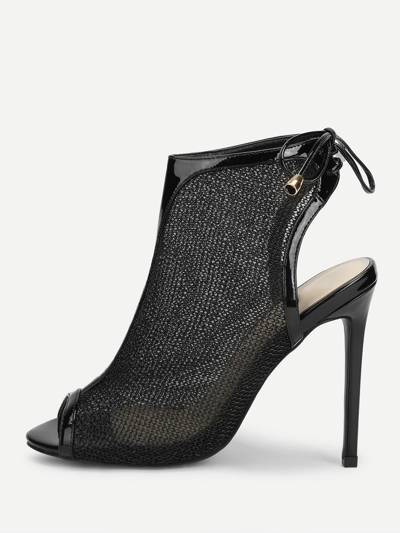 Купить Peep Toe Mesh на высоких каблуках сандалии, null, SheIn