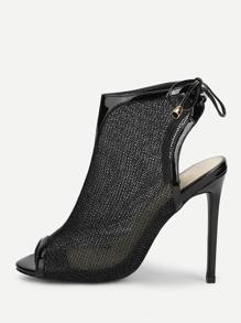 Peep Toe Mesh High Heeled Sandals