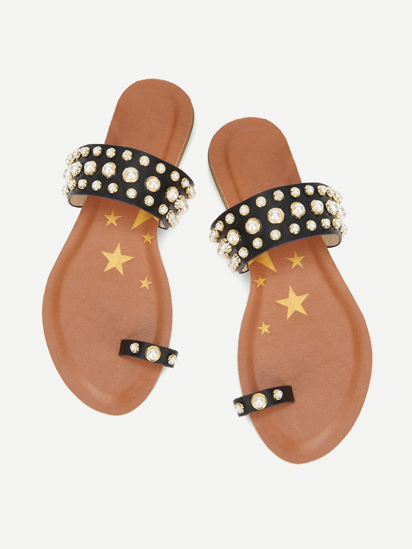 Toe Ring Faux Pearl Flat Sliders faux pearl asymmetrical ring
