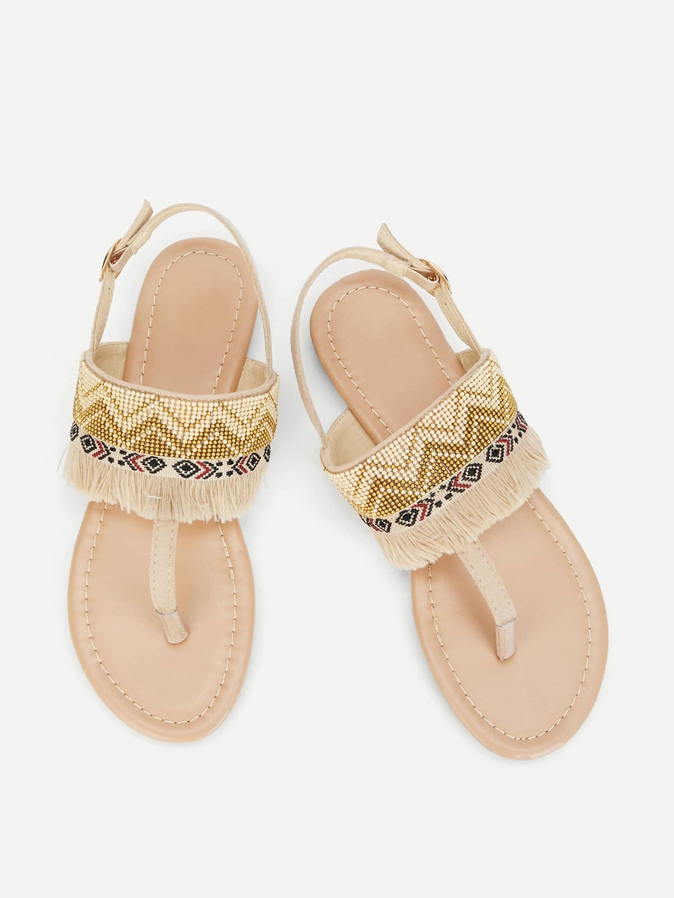 Fringe Detail Toe Post Sandals fringe detail beach sandals