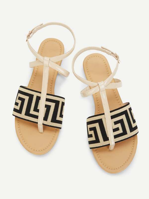 Geometric Pattern Toe Post Flat Sandals by Sheinside
