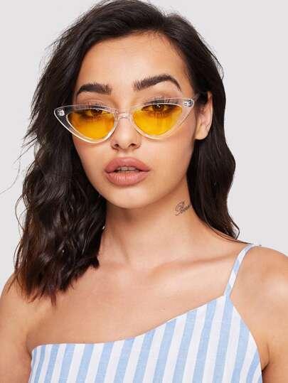 4228c16dcb03e Cat Eye Flat Lens Sunglasses
