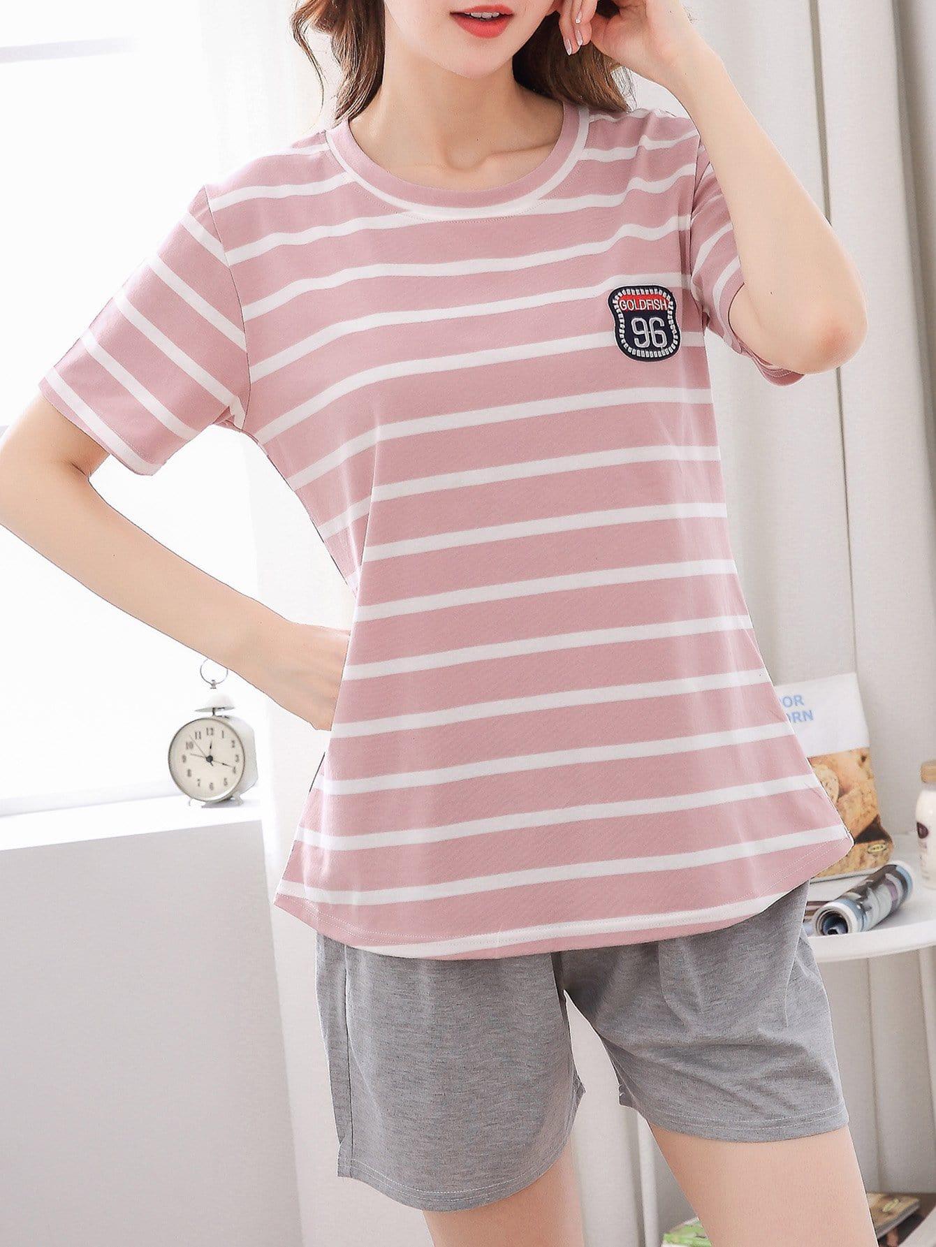 Купить Комплект пижамы с вышивкой надпись и полоски, null, SheIn