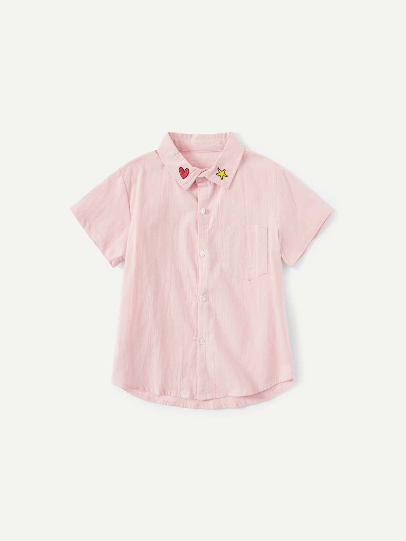 Kids Star And Heart Embroidery Blouse kids star and letter print striped blouse