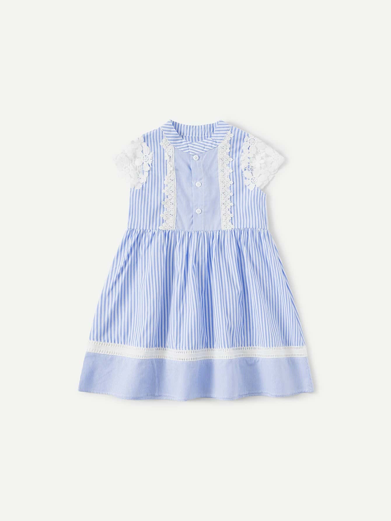 Kids Contrast Lace Striped Dress contrast lace striped star print dress