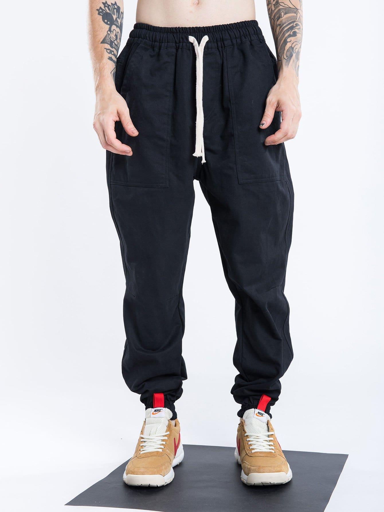 Men Mesh Elastic Foot Drawstring Pants men elastic foot drawstring jeans