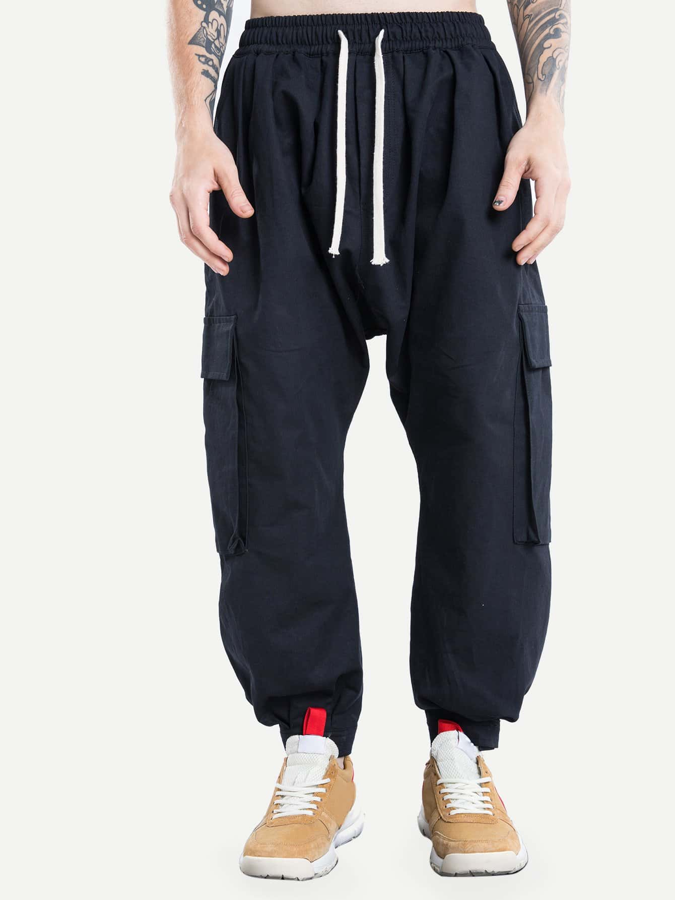 Men Pocket Decoration Drawstring Harem Pants набор раскрась и собери 3d самолётик 42904