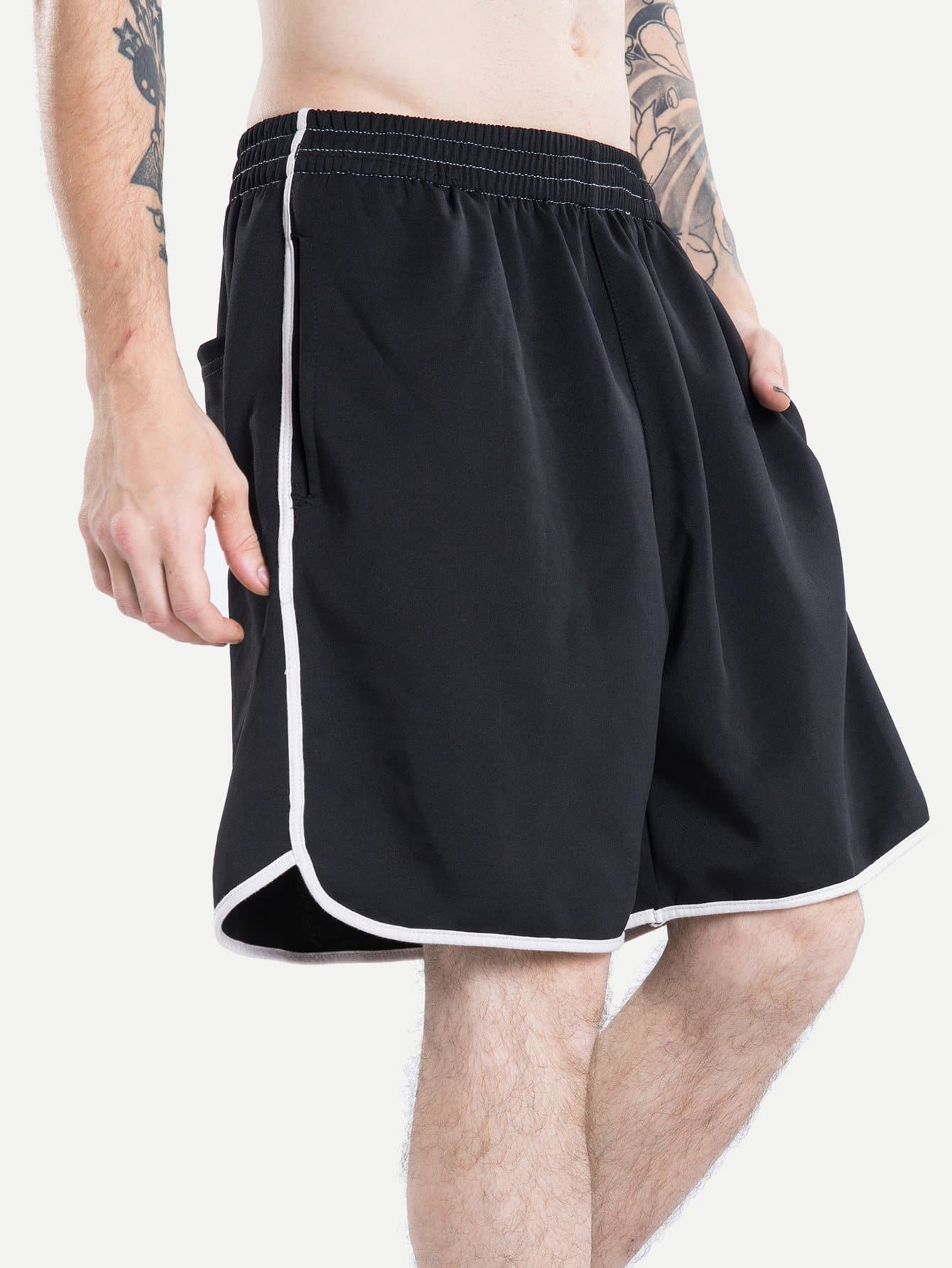 Men Elastic Waist Ringer Shorts men elastic waist ringer shorts