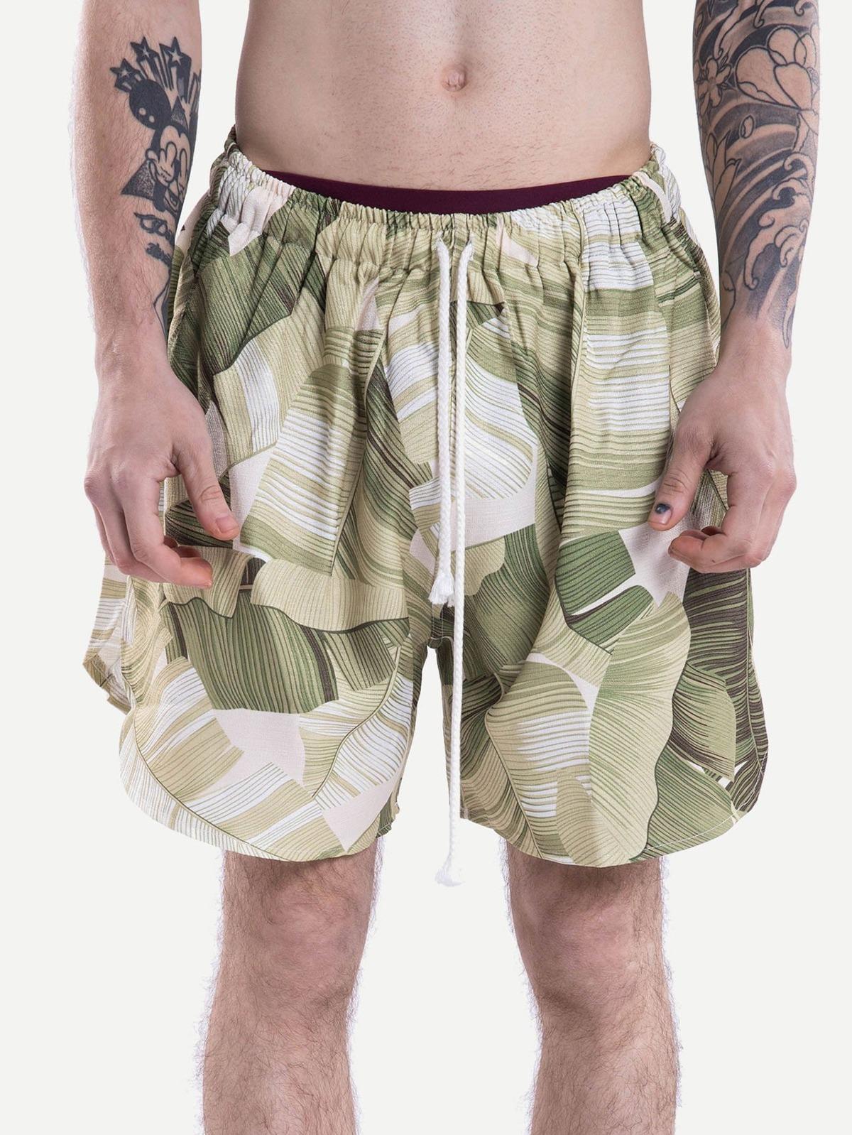 男人 熱帶小島 圖片 曲線 下擺 束帶 短褲