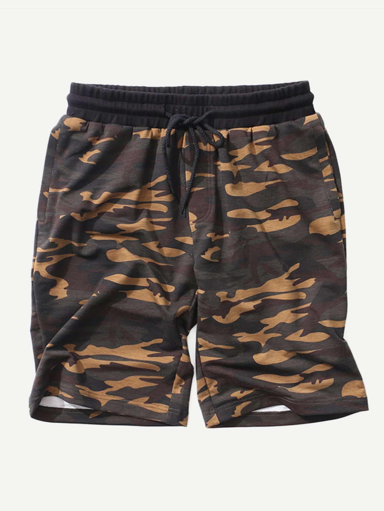 Men Cut And Sew Panel Camo Shorts men cut and sew panel beach shorts
