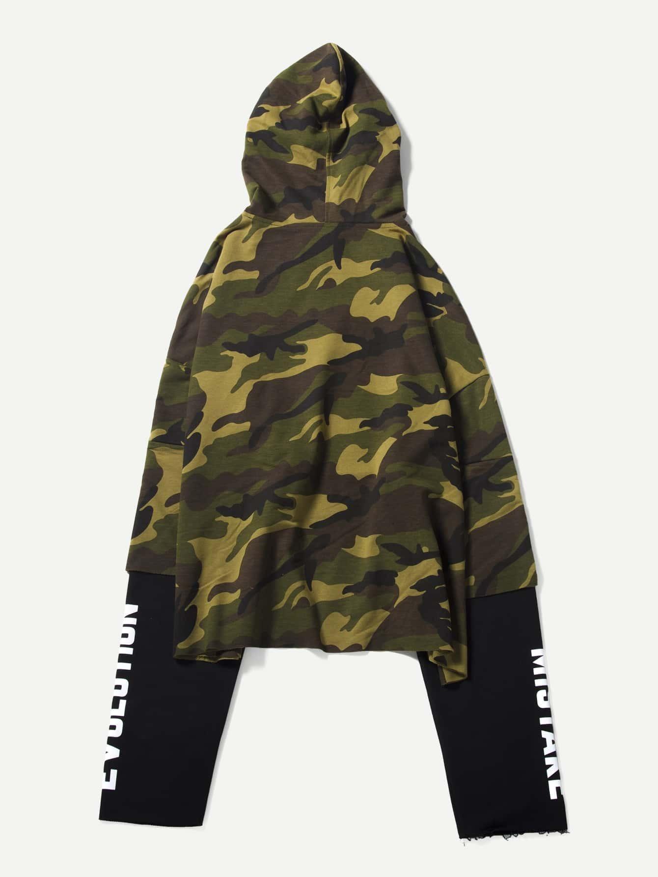 Men Letter Print Hooded Camo Sweatshirt plus size letter print hooded sweatshirt dress
