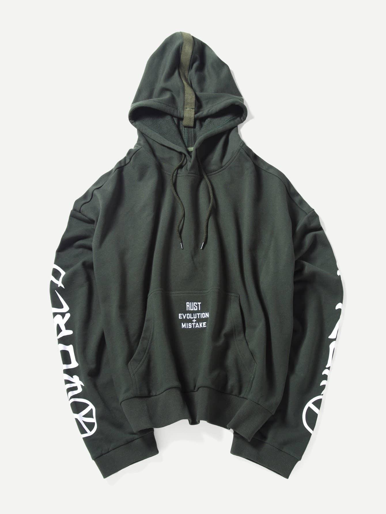 Men Letter Print Hooded Sweatshirt plus size letter print hooded sweatshirt dress
