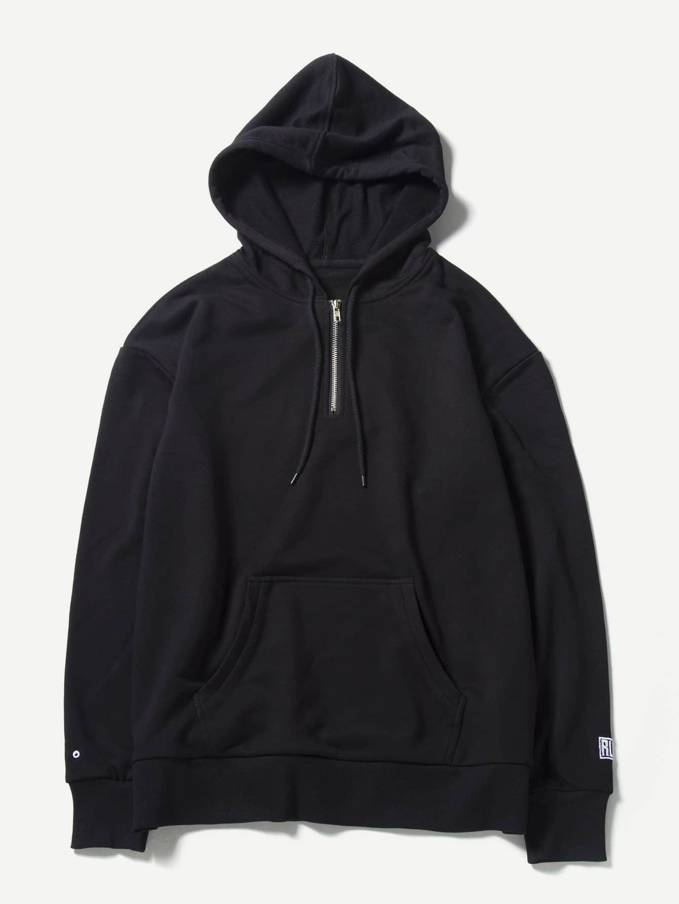 Men Letter Print Zip Decoration Hooded Sweatshirt plus size letter print hooded sweatshirt dress