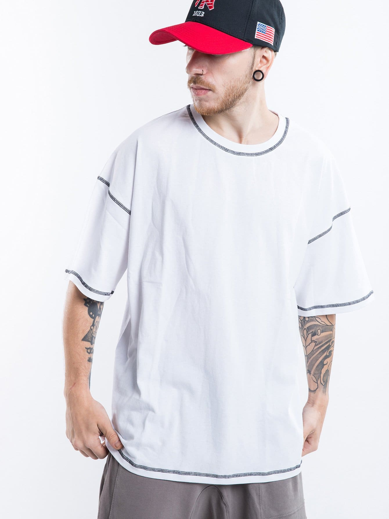 Men Contrast Stitching Tee contrast plaid tee