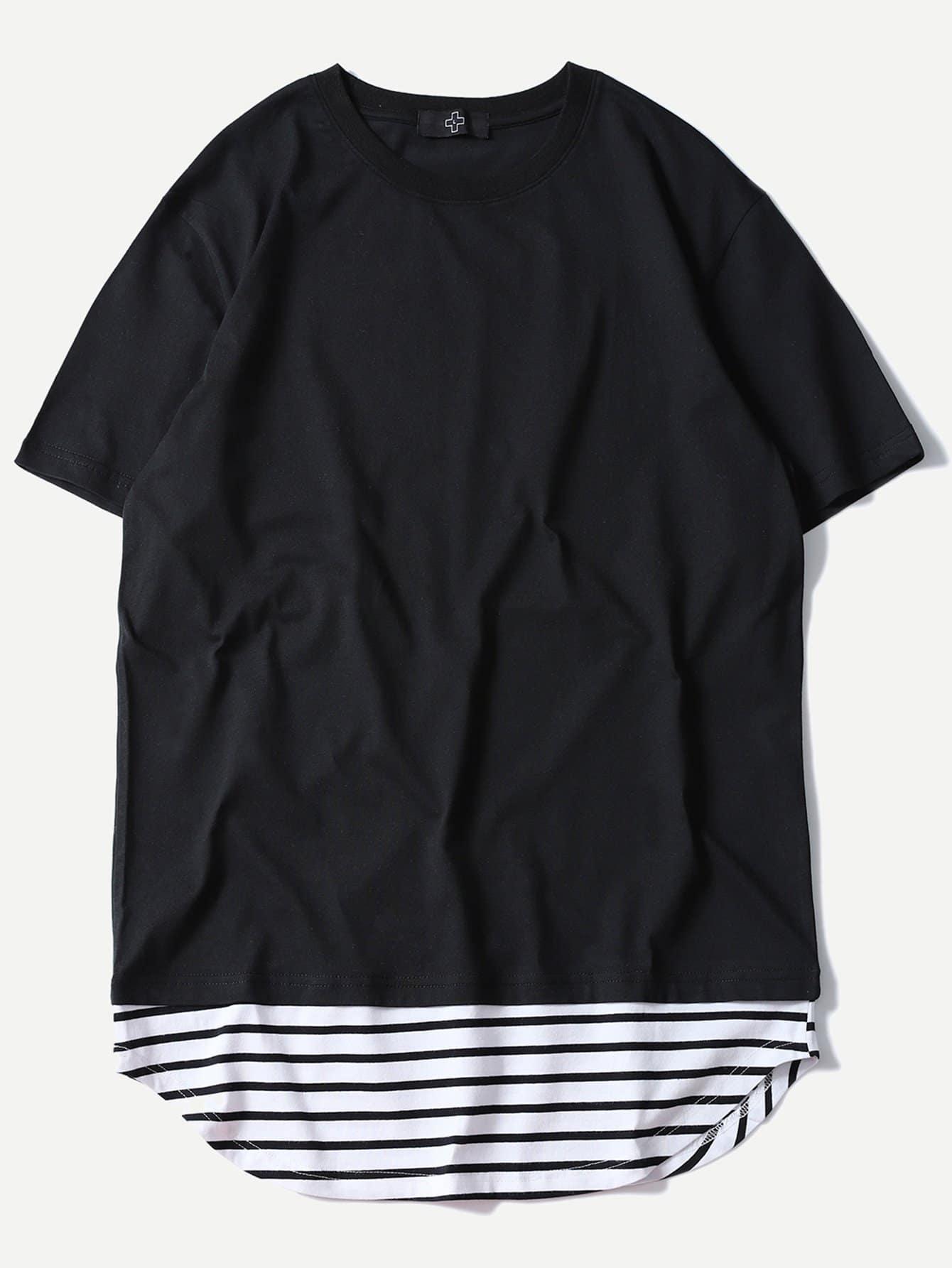 Men Contrast Striped Hem Tee contrast striped trim camo print tee