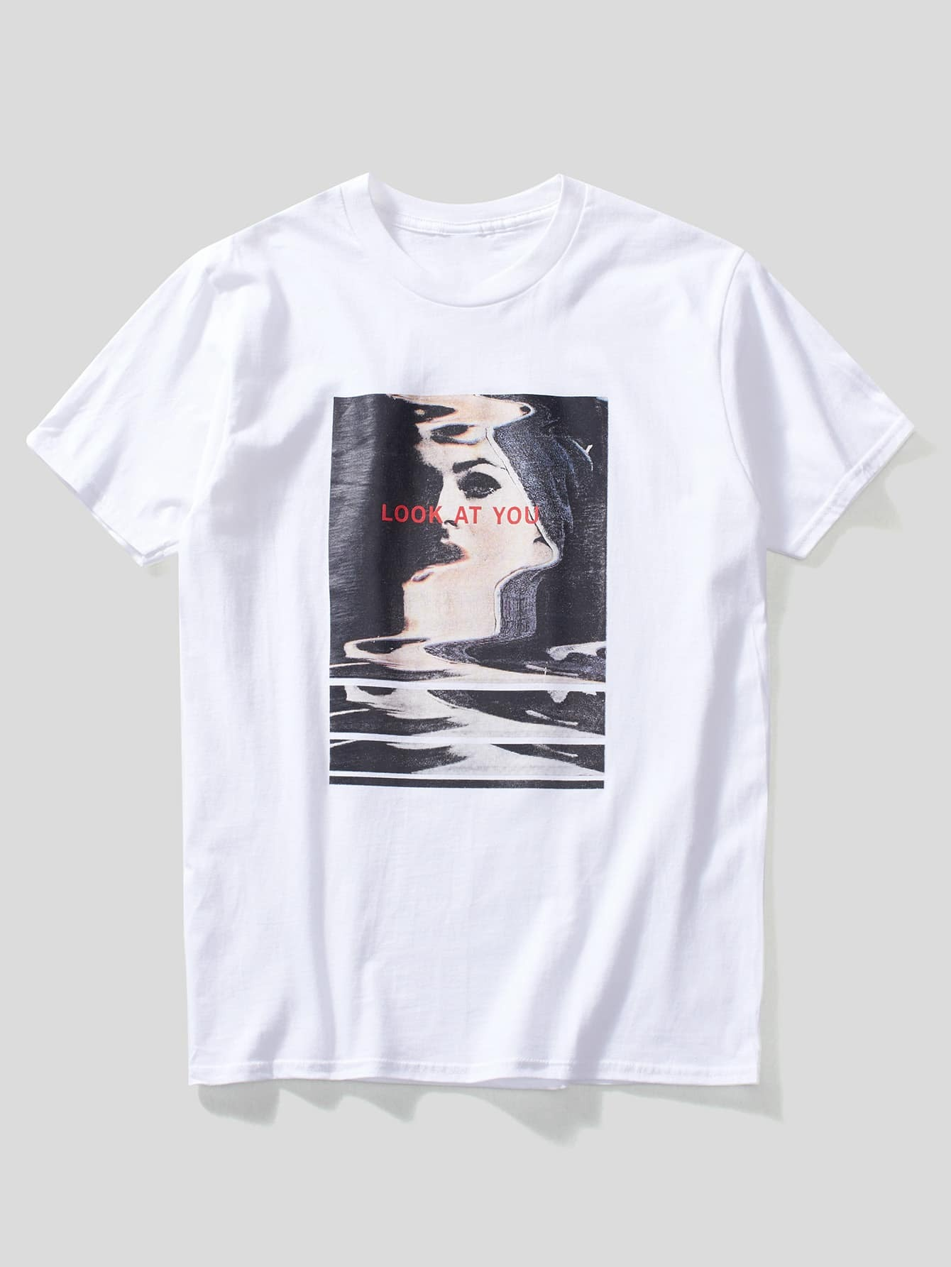 Men Letter And Abstract Figure Print Tee