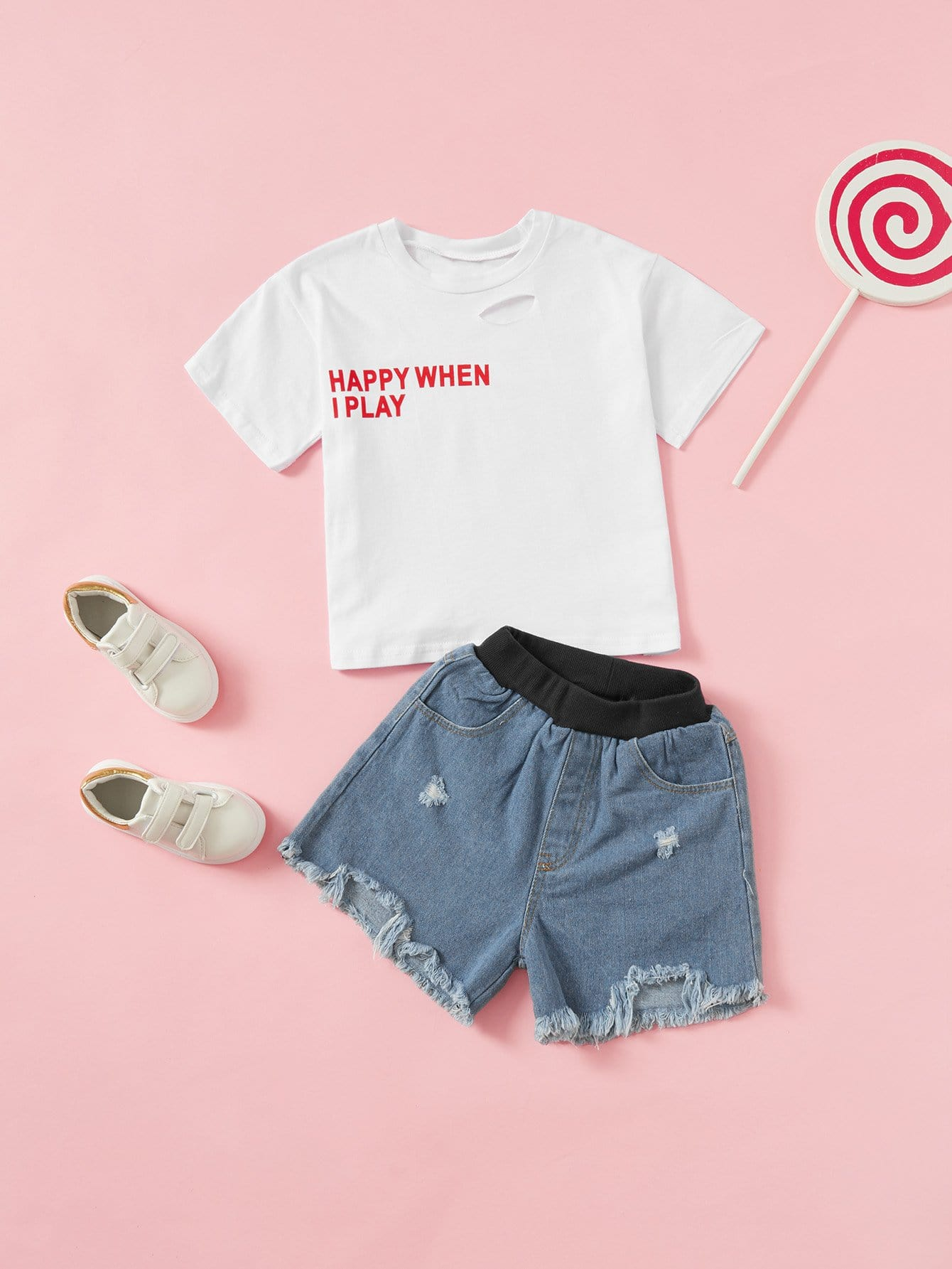 все цены на Kids Letter Print Tee With Raw Hem Denim Shorts