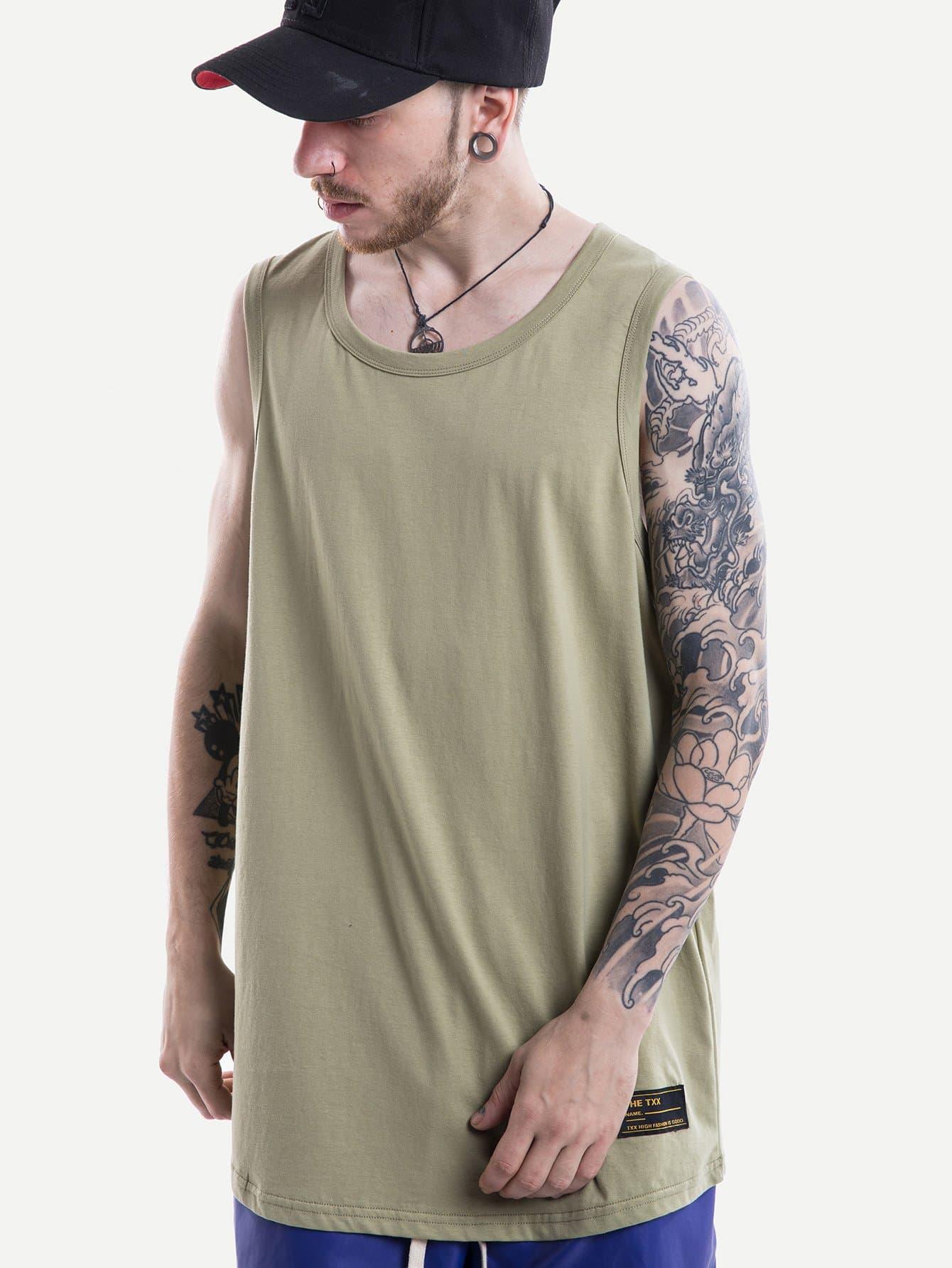 Men Patched Plain Vest men abstract print plain vest