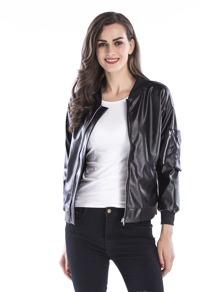 PU Zip-Up Front Solid Jacket
