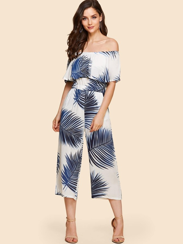 Off Shoulder Leaves Print Romper by Sheinside