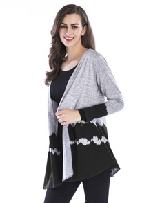 Colorblock Open Front Knit Cardigan