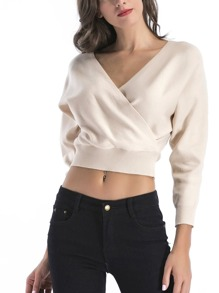 Solid Wrap Crop Sweater