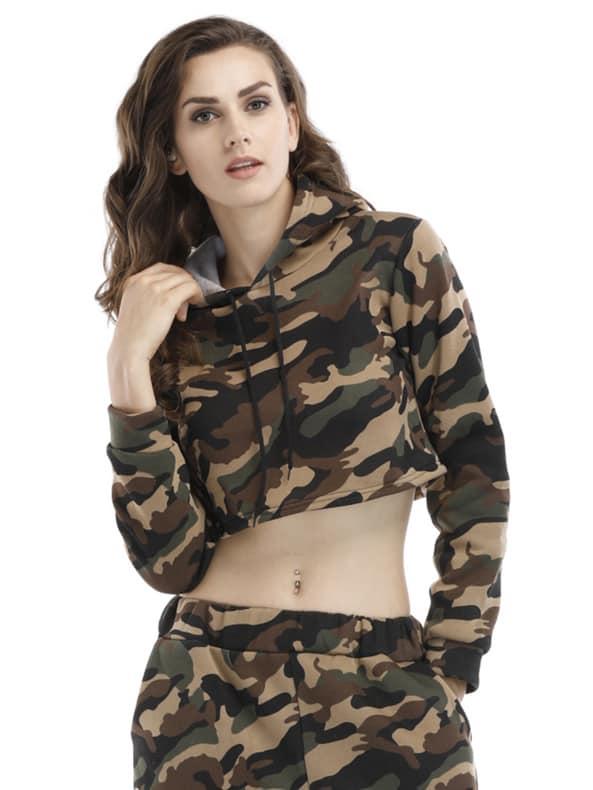 Camouflage Crop Hoodie zip up camouflage panel hoodie and sweatpants