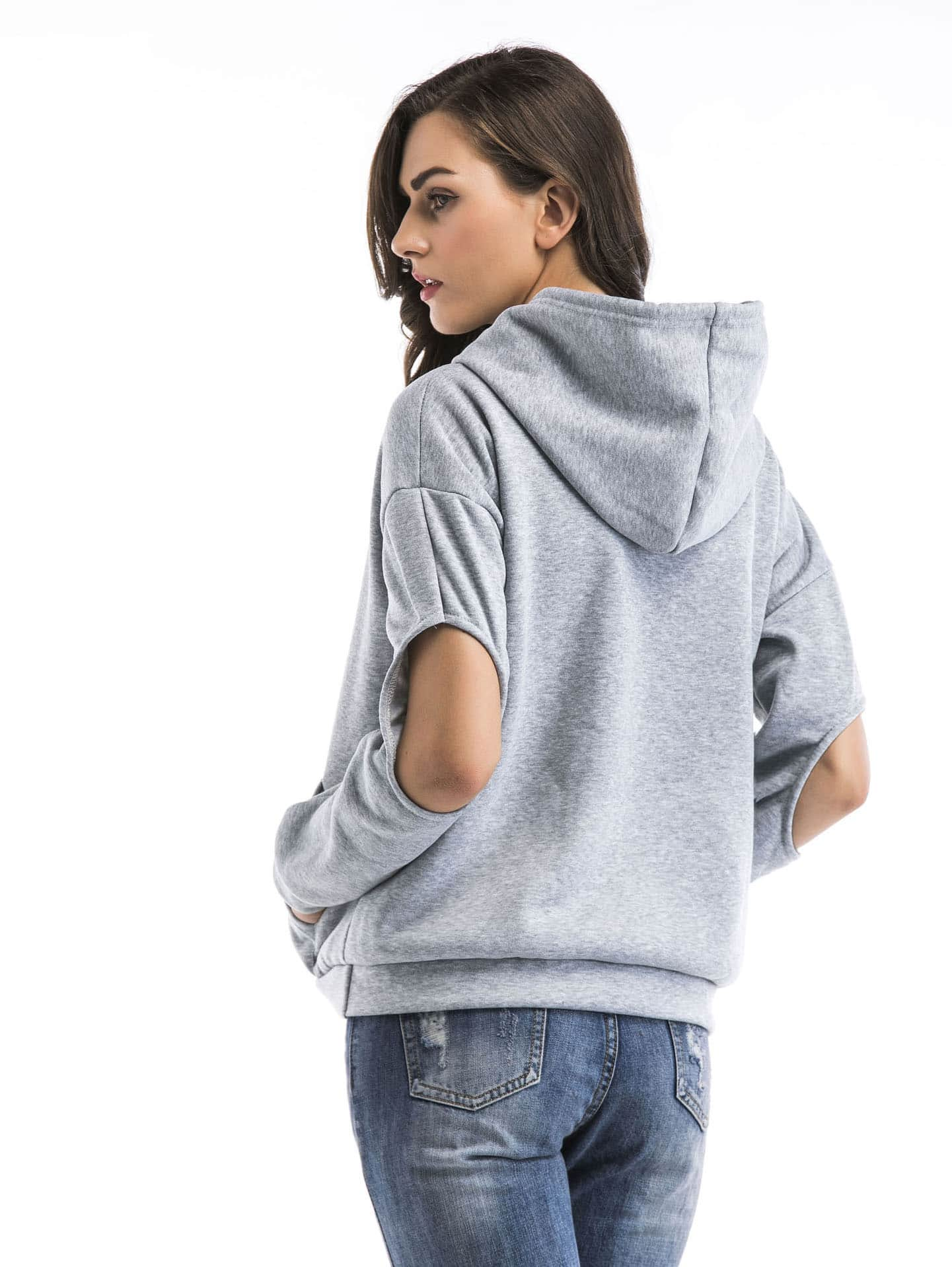 Hollow Out Pocket Front Hoodie hollow out pocket front hoodie