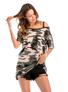 Asymmetrical Shoulder Camouflage Tee