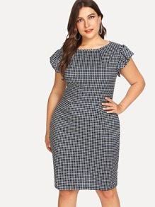 Plus Ruffle Sleeve Checked Dress