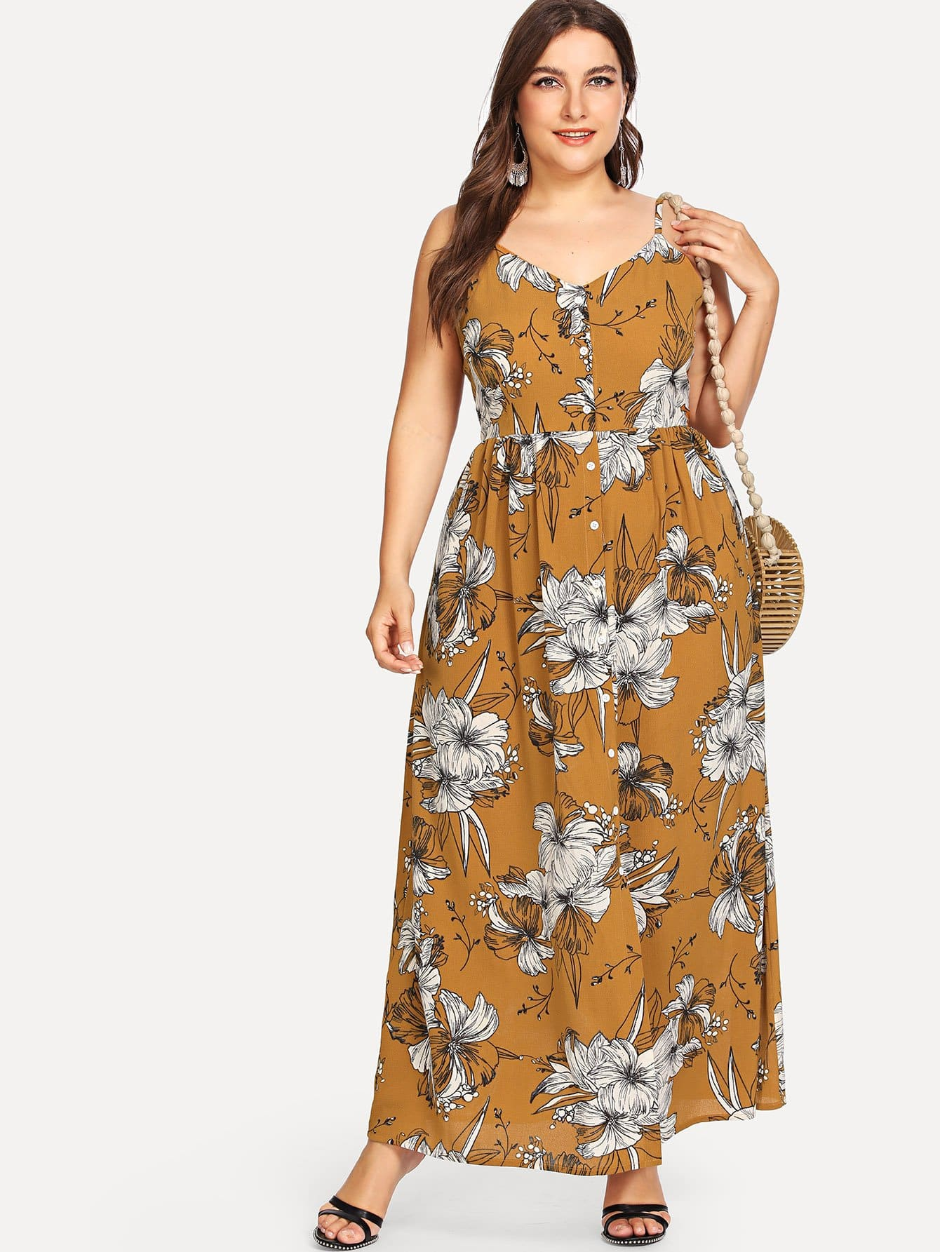 Floral Print Single Breasted Cami Dress fruit print single breasted kimono