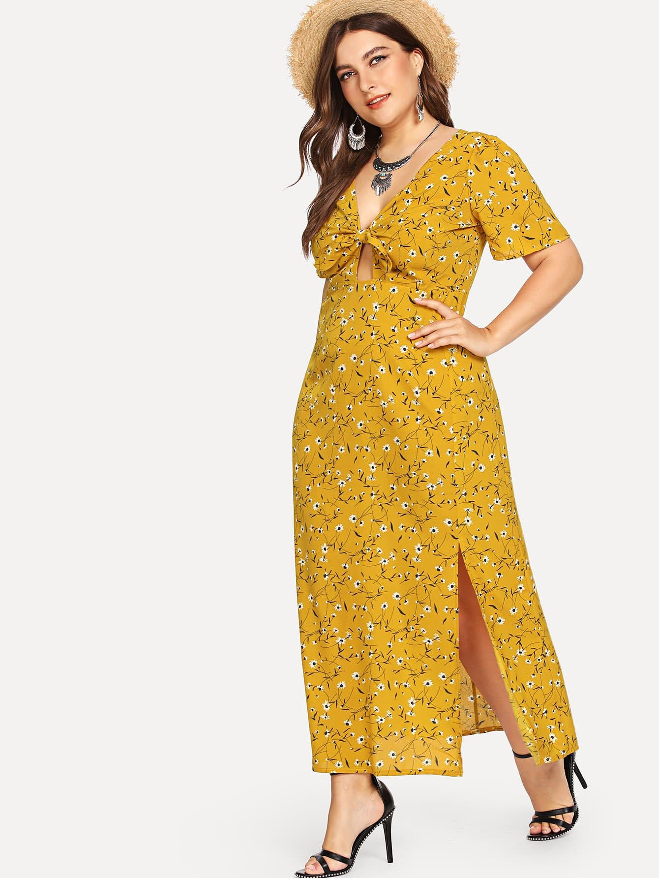 Plus Split Side Floral Print Dress dream like 8 8 8 8