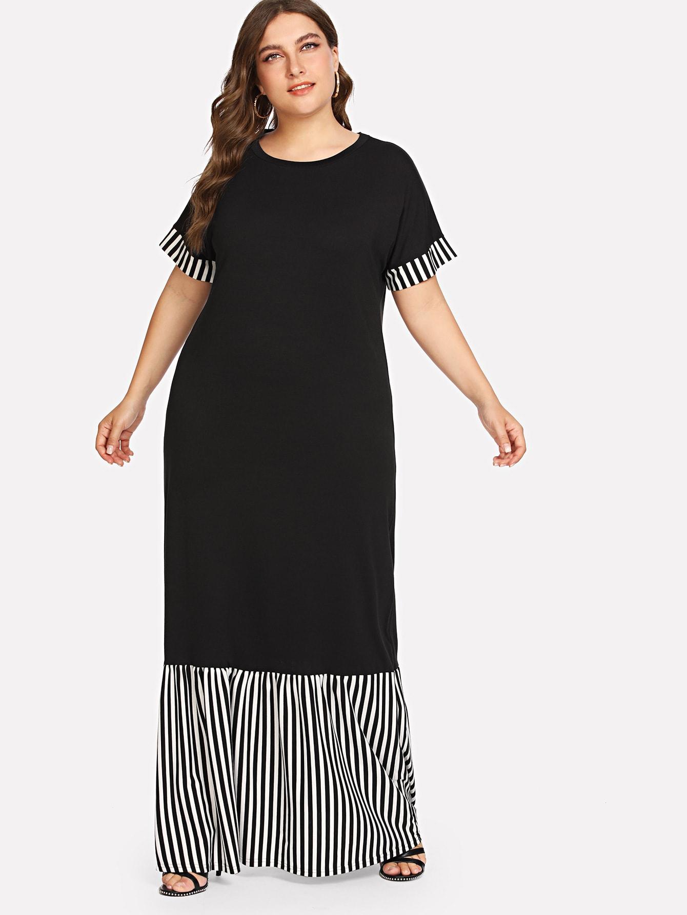 Plus Striped Panel Ruffle Hem Dress
