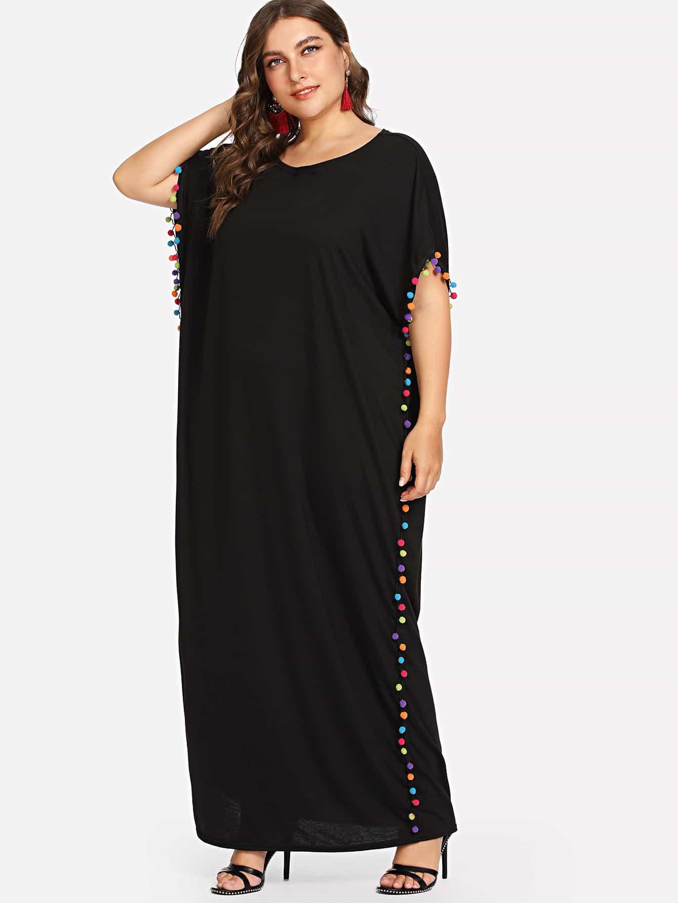 Plus Pom-Pom Trim Batwing Sleeve Dress