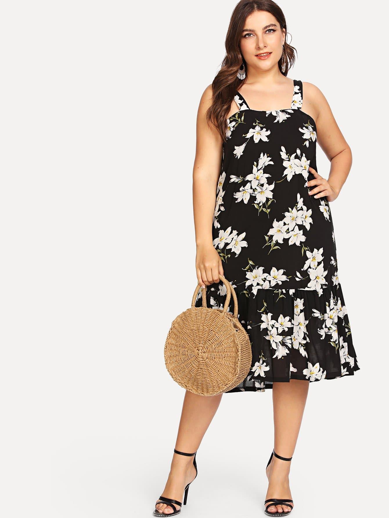 Купить Цветочная печать Ruffle Hem Dress, Franziska, SheIn