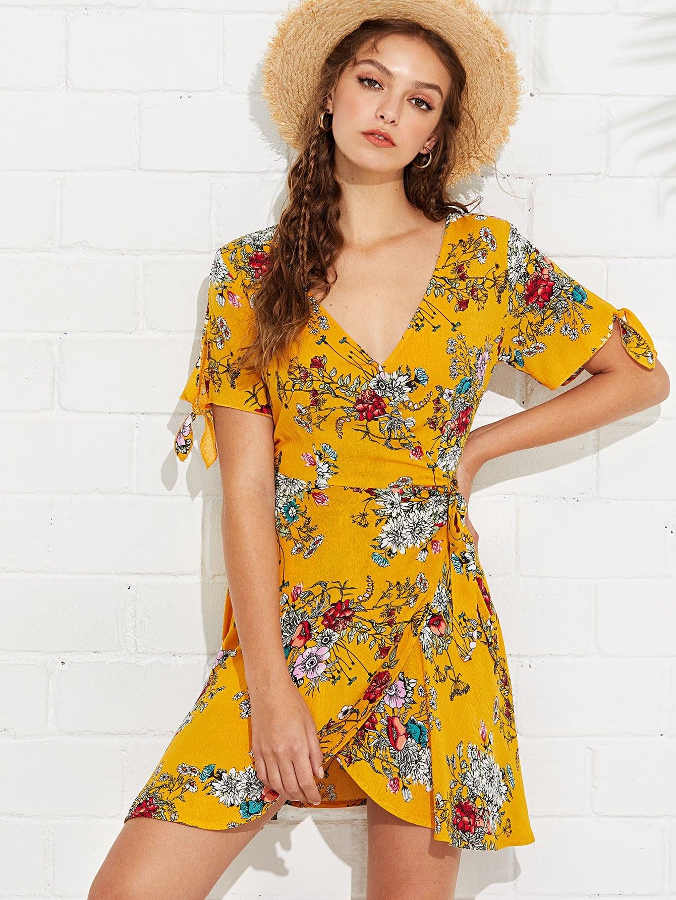 Floral Print Knot Side Dress guitar print knot side dress