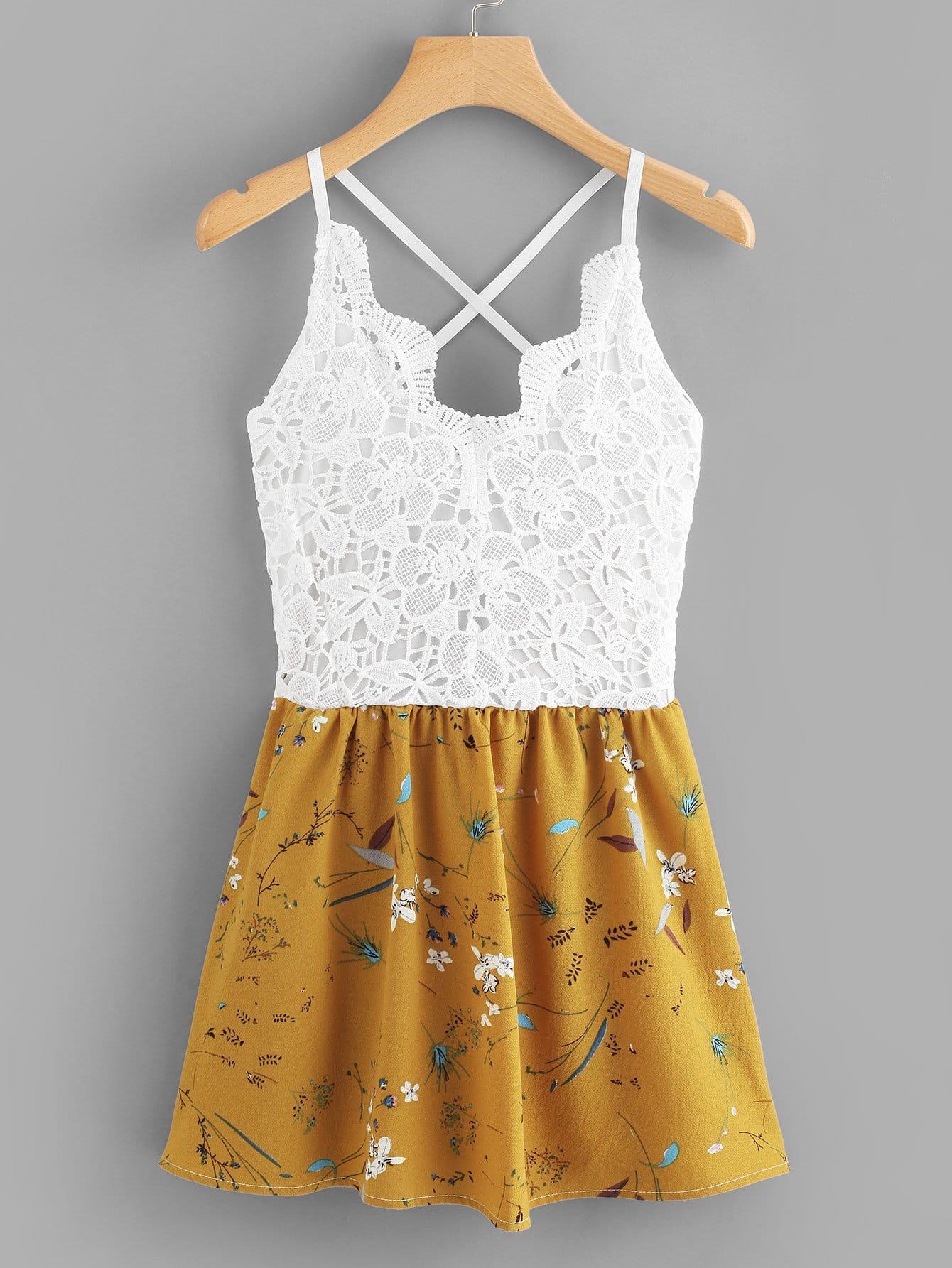 Цветочная печать Contrast Lace Cami Dress