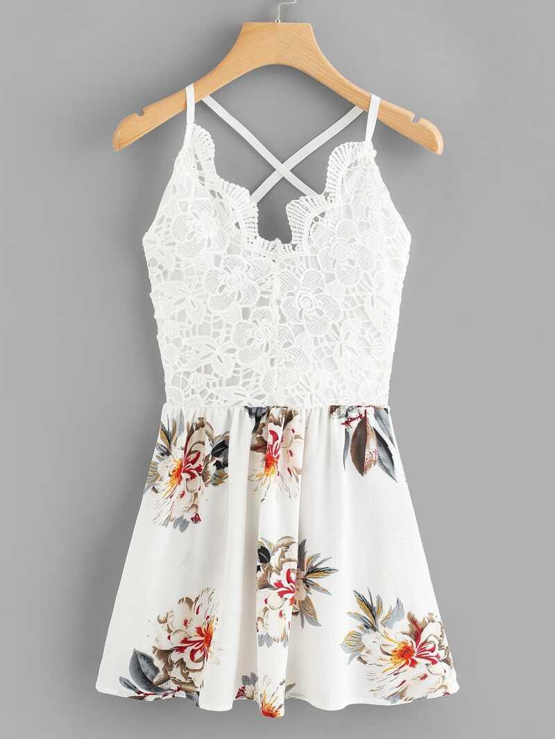 Floral Print Contrast Lace Cami Dress, White