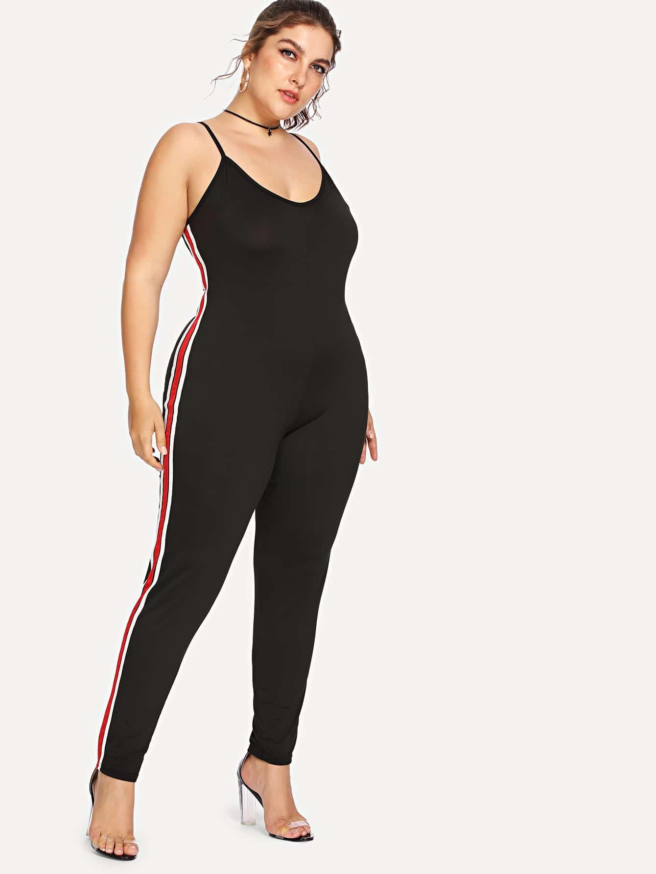 Plus Contrast Striped Side Cami Jumpsuit все цены