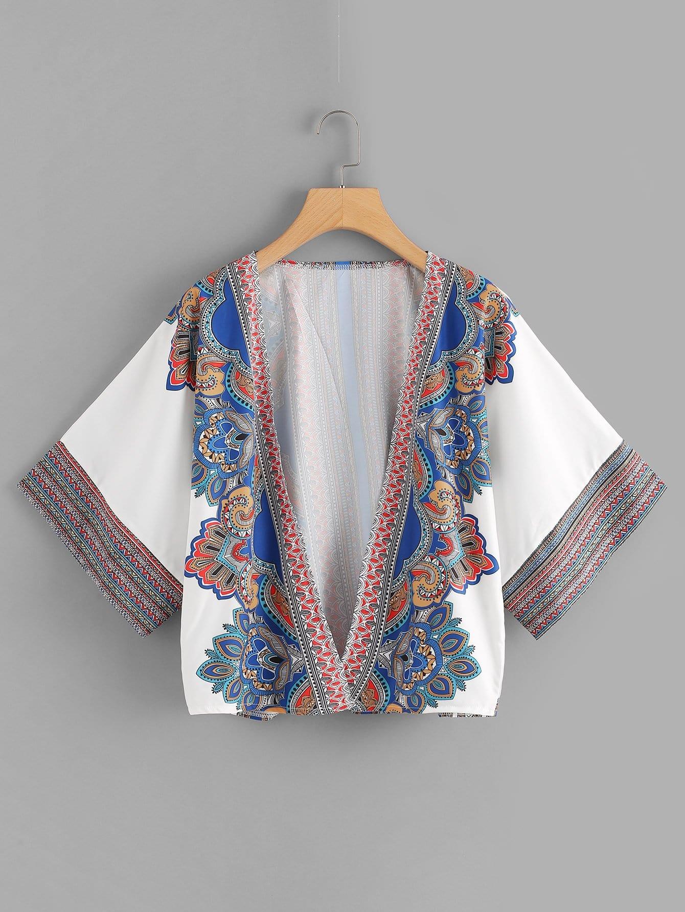 Geo Print Kimono geo print tassel embellished kimono