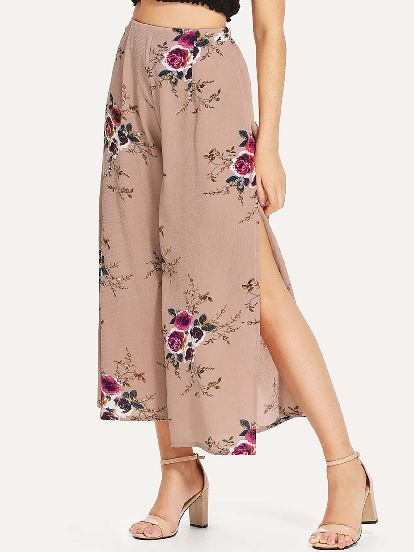 Floral Print Split Side Pants floral print split side dress
