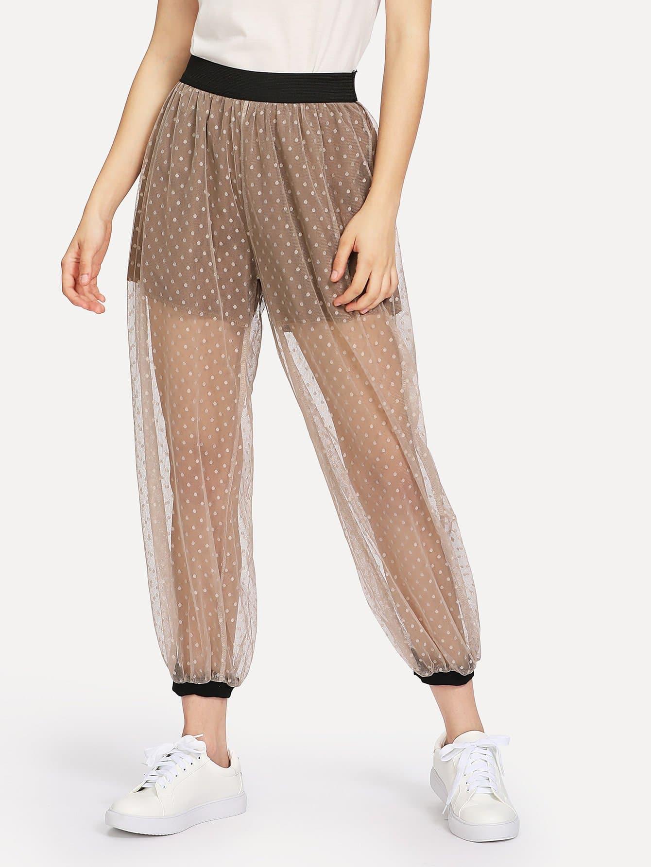 Sheer Mesh Polka Dot Pants sheer mesh polka dot pants
